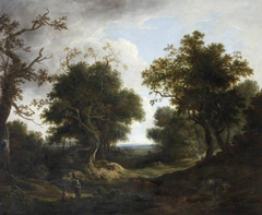 Wooded Landscape with Cattle and Sheep and Peasant Figures by a River