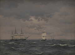 A Corvette Reefing Sails in a Freshening Wind and some other Ships