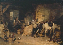 A Country Blacksmith Disputing upon the Price of Iron, and the Price Charged to the Butcher for Shoeing his Poney
