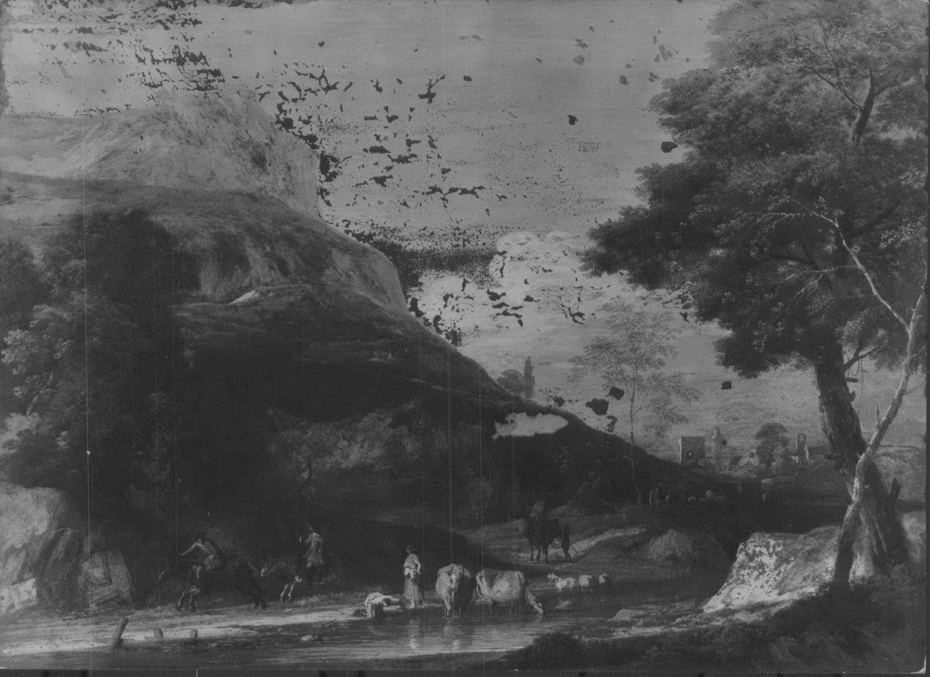 A Hilly Landscape with two Men on Horseback Galloping