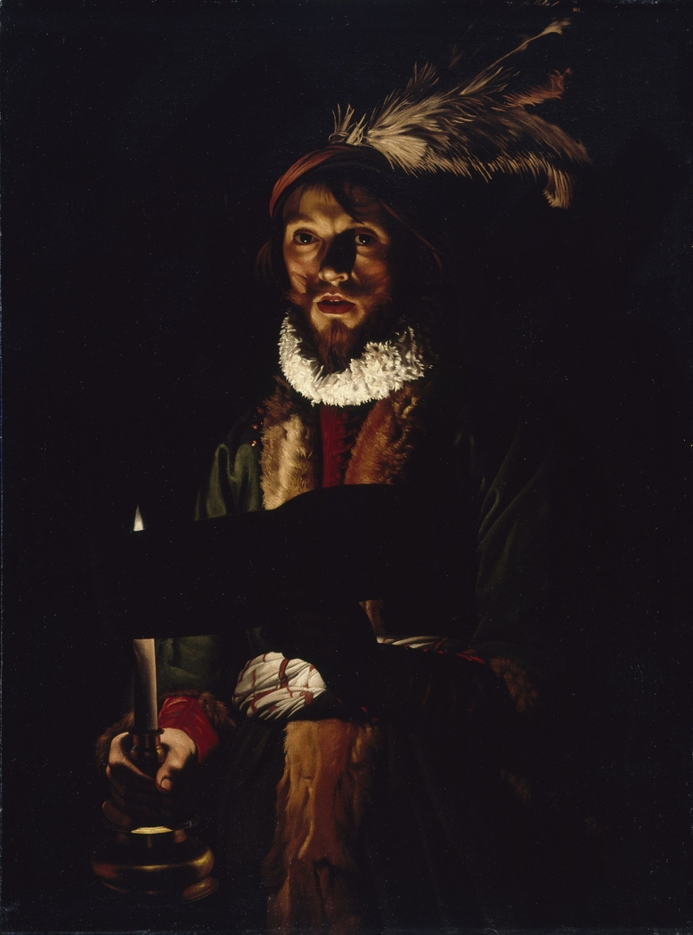 A Man Singing by Candlelight