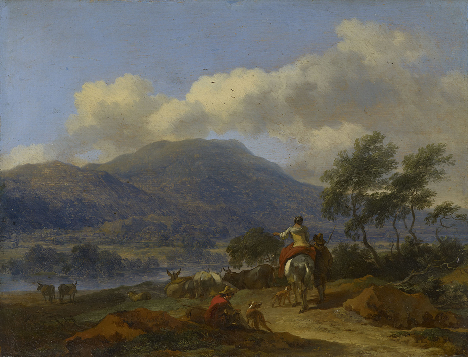 A Mountainous Landscape with two Shepherds, a Shepherdess and Cattle