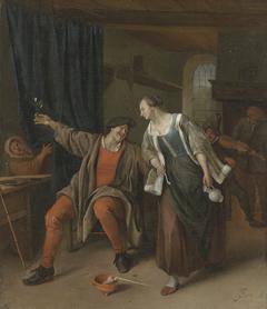A peasant couple carousing in an inn