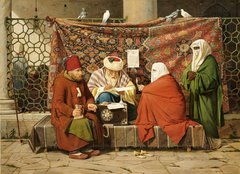 A Turkish notary drawing up a marriage contract in front of the Kiliç Ali Pasha Mosque, Tophane, Constantinople