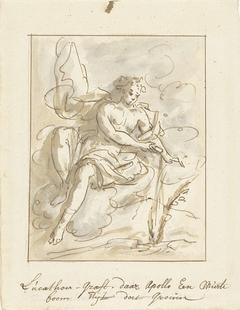 Apollo doet een myrteboom ontspruiten op het graf van Leucothoë