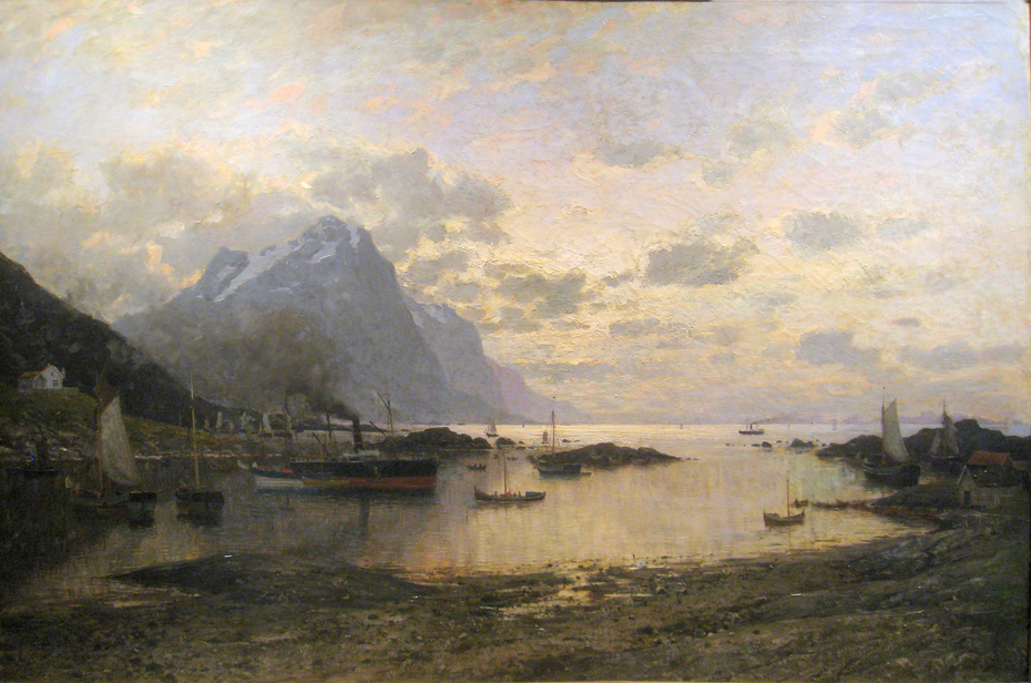 Arrival of the Mail Steamer at Lofoten