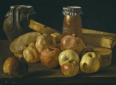 Bodegón con granadas y manzanas cajas de dulces y otros recipientes