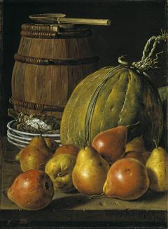 Bodegón con peras melones platos y barril