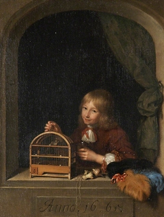 Boy leaning on a Windowsill, holding a Birdcage