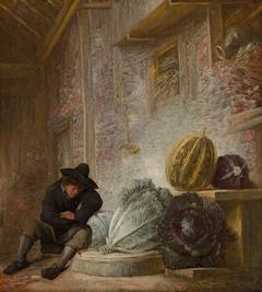 Boy Sleeping in a Barn