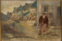 Breton landscape with an old fisherman