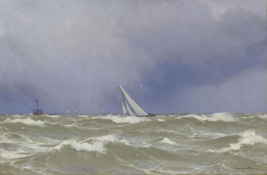 'Britannia' in a Squall in the Solent