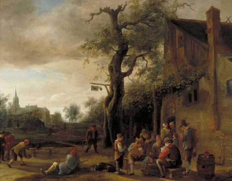 Cardplayers and Bowlers near an Inn