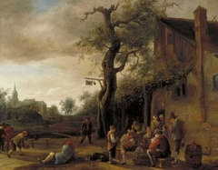 Cardplayers and Bowlers near an Inn