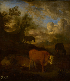 Cattle, a Horse and a Sleeping Herdsman