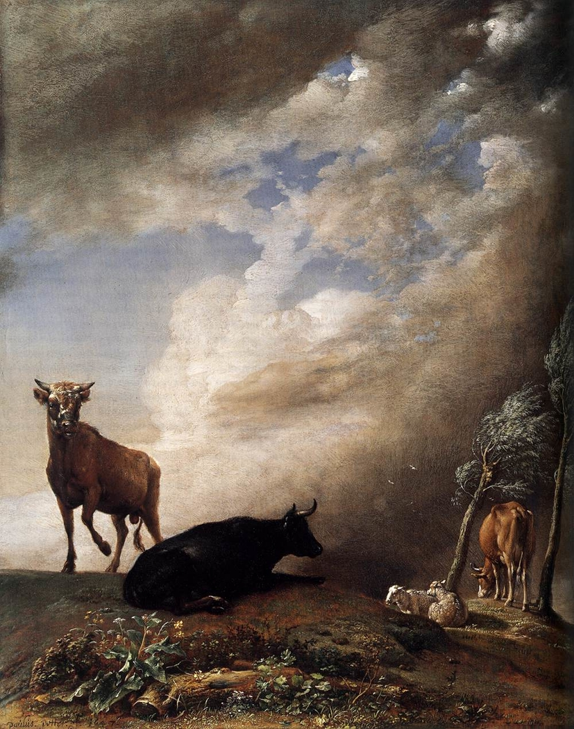 Cattle and Sheep in a Stormy Landscape