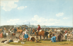 Cattle Market before a Large City on a Lake