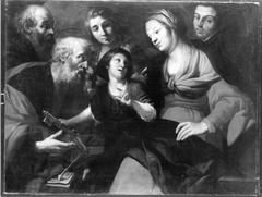 Christus als Knabe, Maria, Petrus, zwei Heilige und ein Geistlicher