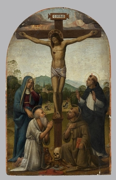Crusifixion with the Virgin Mary and Sts Dominic, Jerome and Francis
