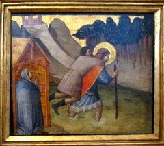 Der hl. Julian trägt Pilger über den Fluß