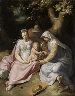 Die Heilige Familie mit der Heiligen Elisabeth und dem Johannesknaben im Walde