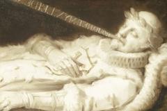 Dirk van Bronkhorst op zijn sterfbed tijdens het beleg van Leiden in 1574