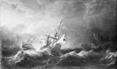 Dutch Men-of-War in a Storm off a Rocky Coast