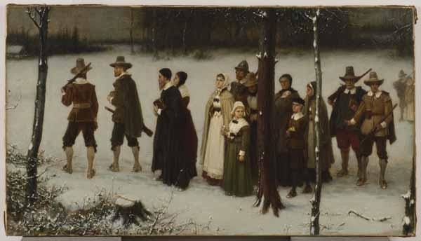 Early Puritans of New England Going to Worship