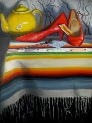 """El Diablito"" by Lydia Martin© oil on Belgian linen (24""x18"")/ Lotería series"