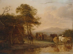 Evening Landscape with Cattle and Peasants Dancing to the Sound of a Pipe