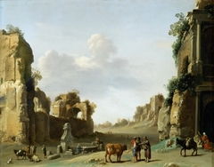 Fantasy View of the Campo Vaccino with a Donkey