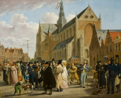 Feest op het marktplein in Haarlem vanwege de opening van de tentoonstelling (…) op 4 juli 1825