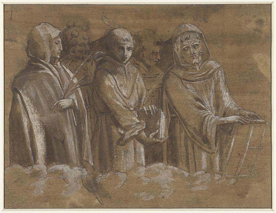 Figuren van martelaars boven een wolkenrand
