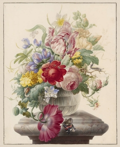 Flowers in a Glass Vase with a Butterfly