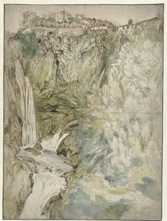 Gezicht op de watervallen te Tivoli