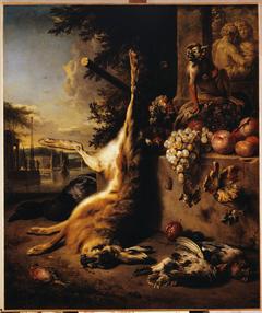 Gibier mort, singe et fruits devant un paysage