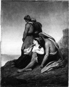 Griekse bannelingen op een rots, starend naar hun verloren vaderland