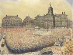 Het bevrijdingsfeest op de Dam op 9 mei 1945