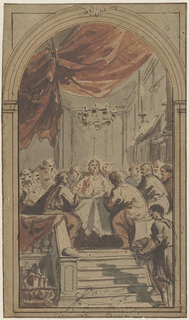 Het Heilig Avondmaal, voorgesteld in de opperzaal