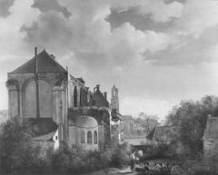 Het koor van de Sint Mariakerk met omgeving te Utrecht