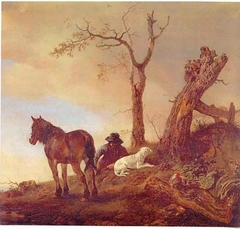 Horseman resting with his dog