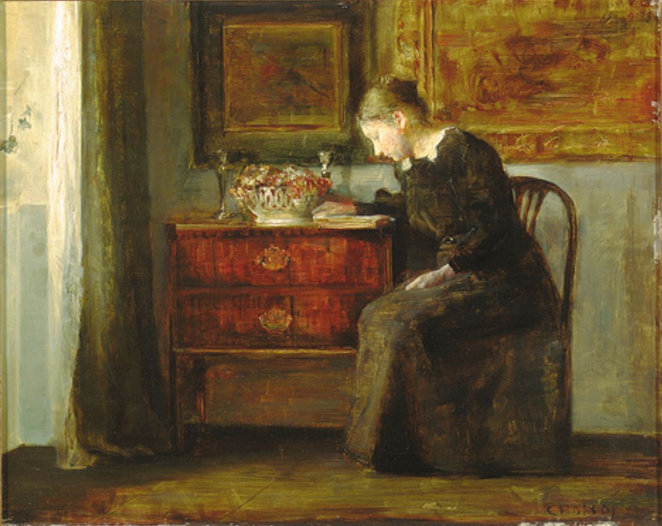 Interior with the artist's wife reading a book by the window.