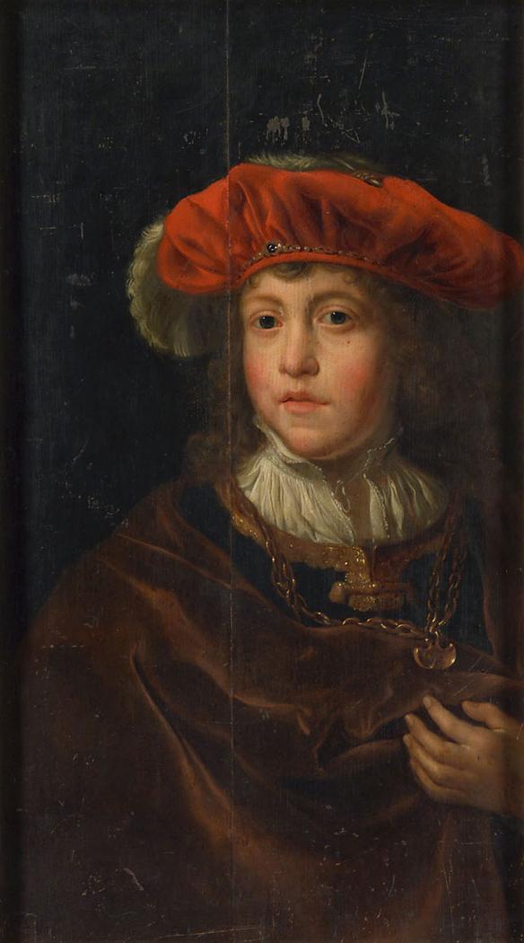 Knabe mit rotem Barett und Goldkette