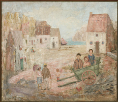 Landscape of a small town with children in a pram