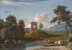 Landscape with a Horse being Ferried across a Stream