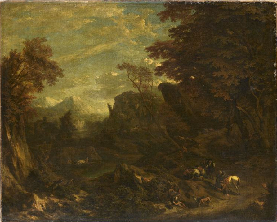 Landscape with travelers resting on the side of a road