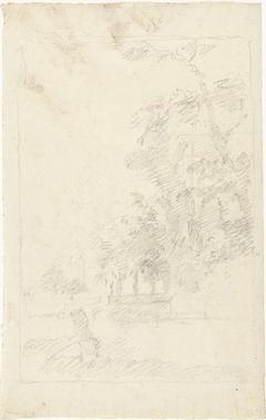 Landschap met een gebouw tussen hoge bomen