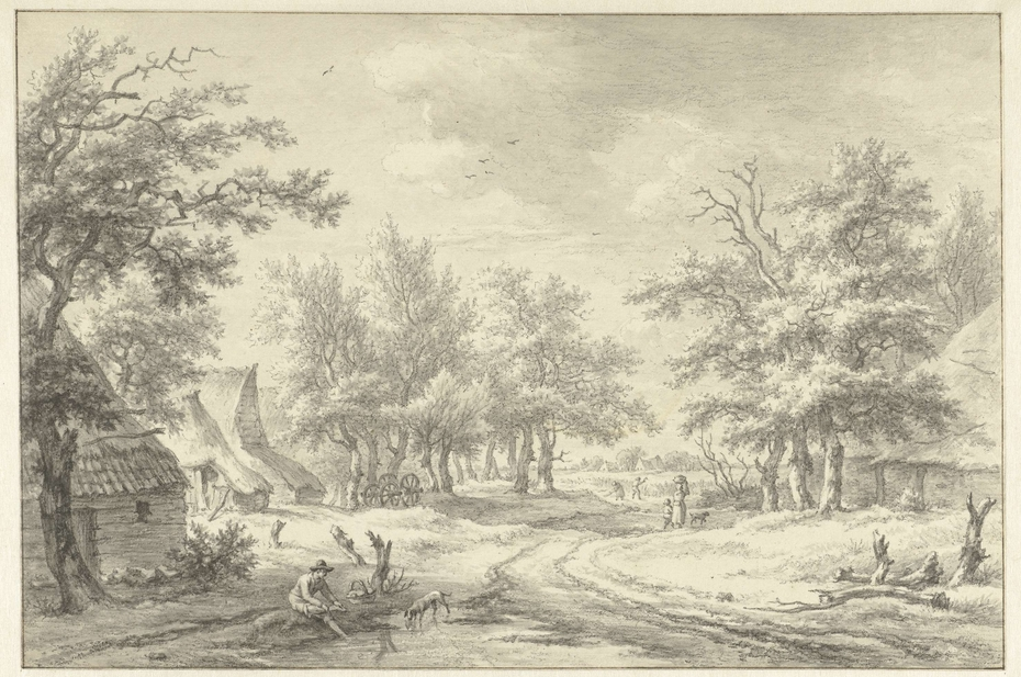 Landschap met enkele boerderijen en figuren