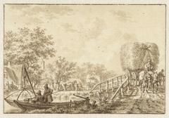 Landschap met vissers in een bootje en hooiwagen op een bruggetje