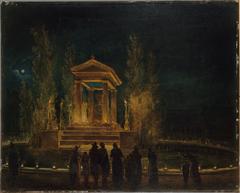 Le Mausolée provisoire de Jean-Jacques Rousseau, sur le bassin des Tuileries, avant la translation de ses cendres au Panthéon Nuit du 10 au 11 octobre 1794